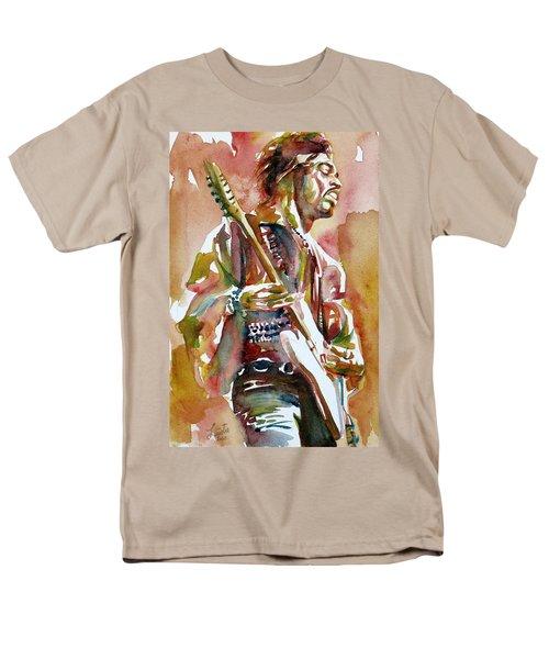 Jimi Hendrix Playing The Guitar Portrait.3 Men's T-Shirt  (Regular Fit)