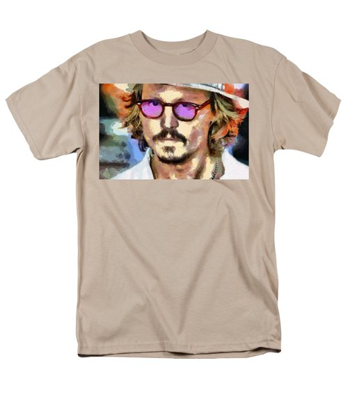 Men's T-Shirt  (Regular Fit) featuring the painting Johnny Depp Actor by Georgi Dimitrov