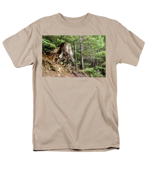 Just Hanging On Old Growth Forest Stump Men's T-Shirt  (Regular Fit) by Roxy Hurtubise