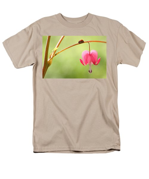 Ladybug And Bleeding Heart Flower Men's T-Shirt  (Regular Fit) by Peggy Collins