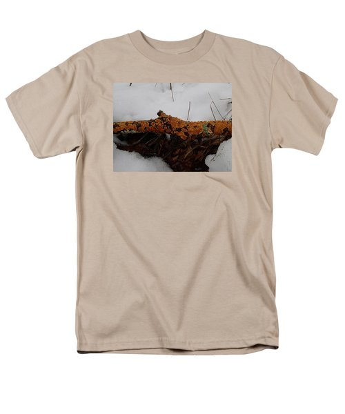 Men's T-Shirt  (Regular Fit) featuring the photograph Lichen N'snow by Robert Nickologianis