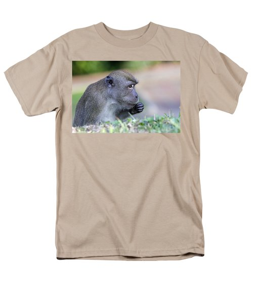Men's T-Shirt  (Regular Fit) featuring the photograph Long Tailed Macaque Feeding by Shoal Hollingsworth