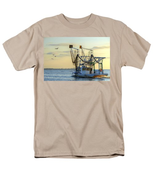 Louisiana Shrimping Men's T-Shirt  (Regular Fit) by Charlotte Schafer
