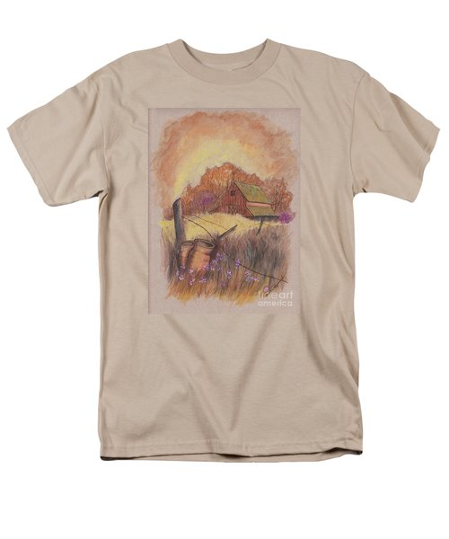 Men's T-Shirt  (Regular Fit) featuring the drawing Macgregors Barn Pstl by Carol Wisniewski