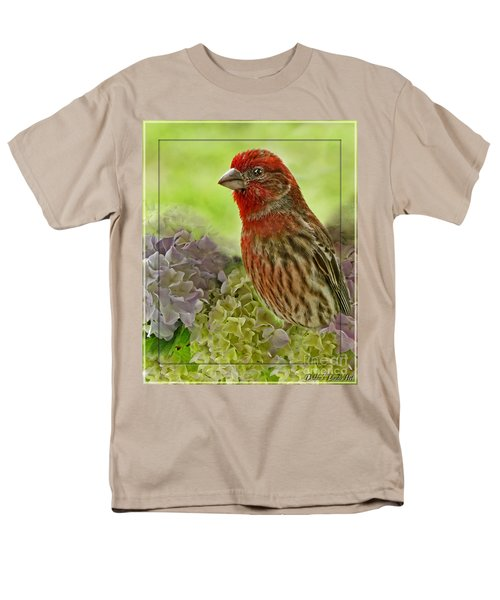 Men's T-Shirt  (Regular Fit) featuring the photograph Male Finch In Hydrangesa by Debbie Portwood