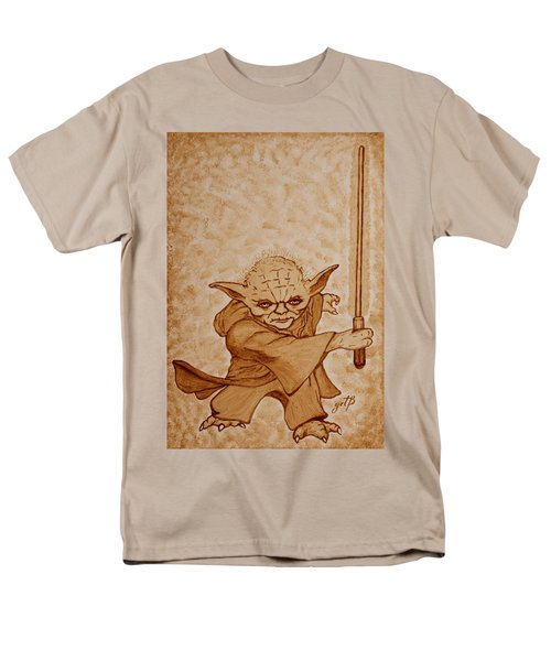 Men's T-Shirt  (Regular Fit) featuring the painting Master Yoda Jedi Fight Beer Painting by Georgeta  Blanaru