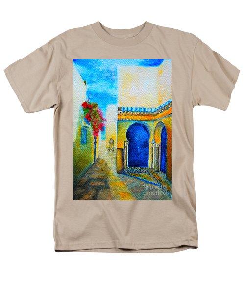 Men's T-Shirt  (Regular Fit) featuring the painting Mediterranean Medina by Ana Maria Edulescu