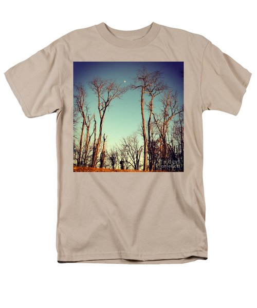 Men's T-Shirt  (Regular Fit) featuring the photograph Moon Between The Trees by Kerri Farley