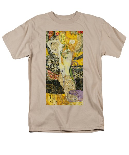 My Acrylic Painting As An Interpretation Of The Famous Artwork Of Gustav Klimt - Water Serpents I Men's T-Shirt  (Regular Fit) by Elena Yakubovich