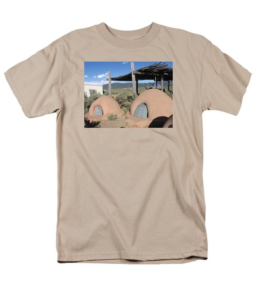 Men's T-Shirt  (Regular Fit) featuring the photograph Native American Adobe Ovens In New Mexico by Dora Sofia Caputo Photographic Art and Design