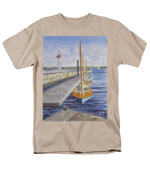 Men's T-Shirt  (Regular Fit) featuring the painting Newport Boats In Waiting by Carol Flagg