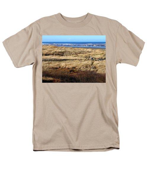 Men's T-Shirt  (Regular Fit) featuring the photograph Ocean Shores Boardwalk by Jeanette C Landstrom