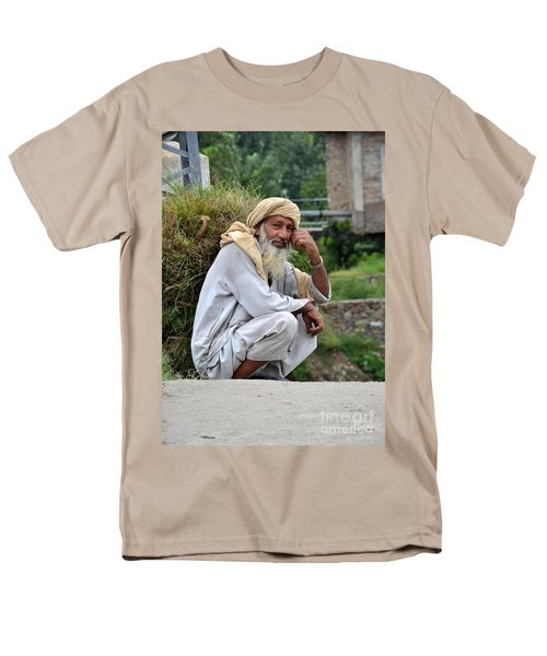 Men's T-Shirt  (Regular Fit) featuring the photograph Old Man Carrying Fodder Swat Valley Kpk Pakistan by Imran Ahmed