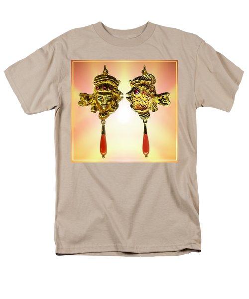 Men's T-Shirt  (Regular Fit) featuring the sculpture One Gold Sculpture Pendant by Hartmut Jager