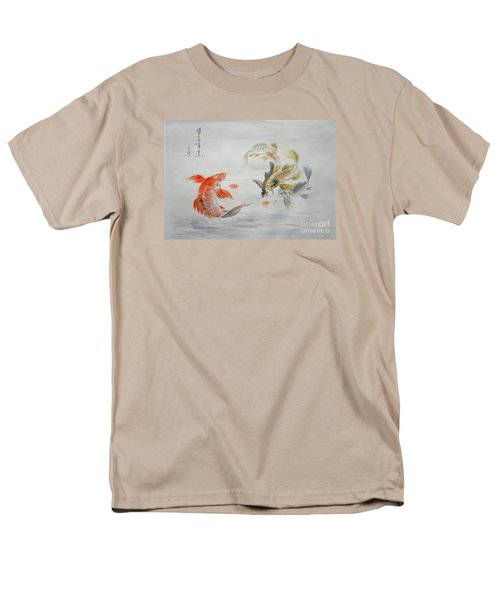 Original Animal  Oil Painting Art- Goldfish Men's T-Shirt  (Regular Fit) by Hongtao     Huang