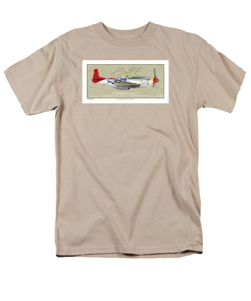 Men's T-Shirt  (Regular Fit) featuring the drawing P-51  by Kenneth De Tore