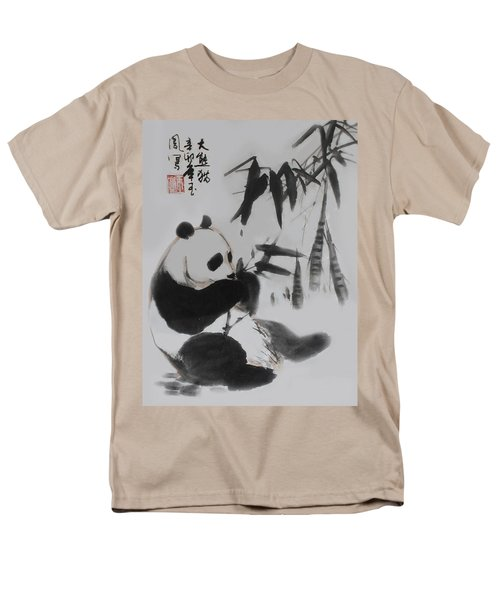 Men's T-Shirt  (Regular Fit) featuring the photograph Panda And Bamboo by Yufeng Wang