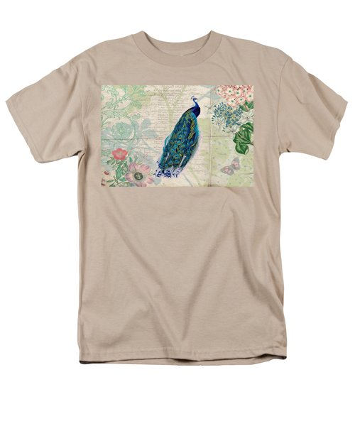 Peacock And Botanical Art Men's T-Shirt  (Regular Fit) by Peggy Collins