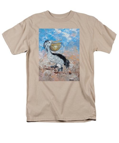 Men's T-Shirt  (Regular Fit) featuring the painting Pelican Beach Walk - Impressionist by Eloise Schneider