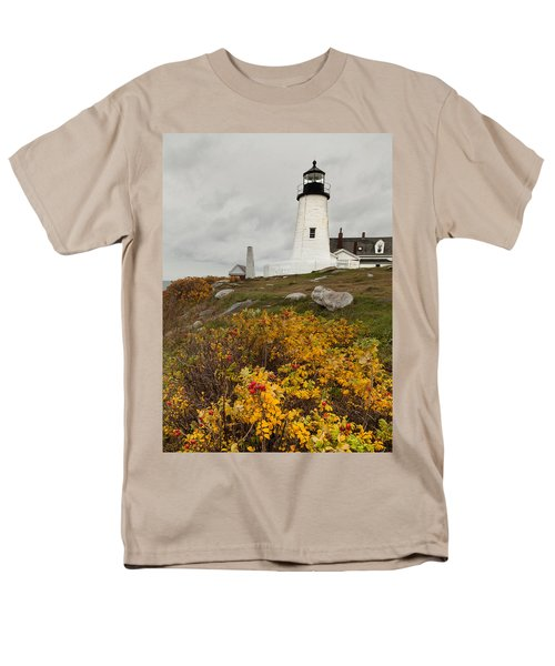 Pemaquid Point Lighthouse And Sea Roses Men's T-Shirt  (Regular Fit)
