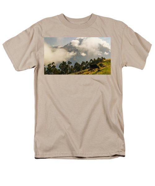 Peru Mountains With Cow Men's T-Shirt  (Regular Fit) by Allen Sheffield