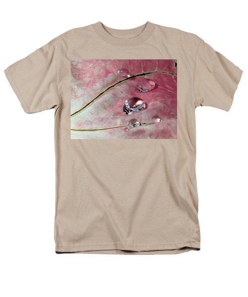 Pink Fancy Leaf Caladium - September Tears Men's T-Shirt  (Regular Fit) by Pamela Critchlow