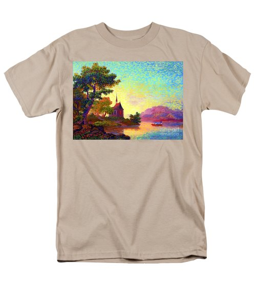 Men's T-Shirt  (Regular Fit) featuring the painting Beautiful Church, Place Of Welcome by Jane Small