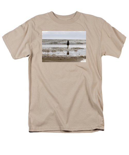Men's T-Shirt  (Regular Fit) featuring the photograph Girl Playing In Sea Foam by Haleh Mahbod