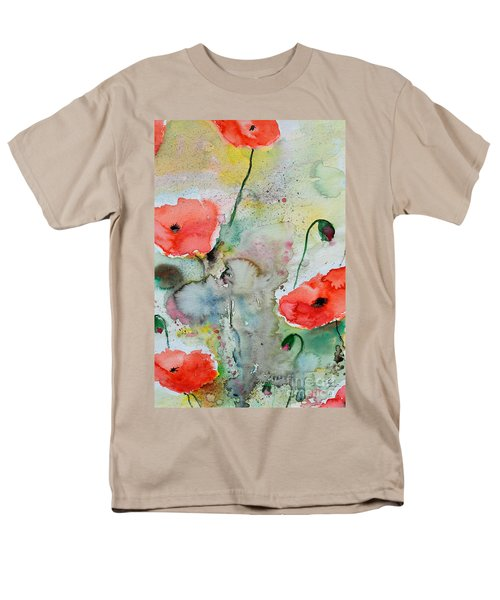 Men's T-Shirt  (Regular Fit) featuring the painting Poppies - Flower Painting by Ismeta Gruenwald