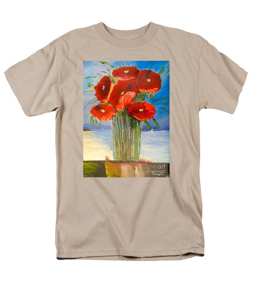 Men's T-Shirt  (Regular Fit) featuring the painting Poppies On The Window Ledge by Pamela  Meredith