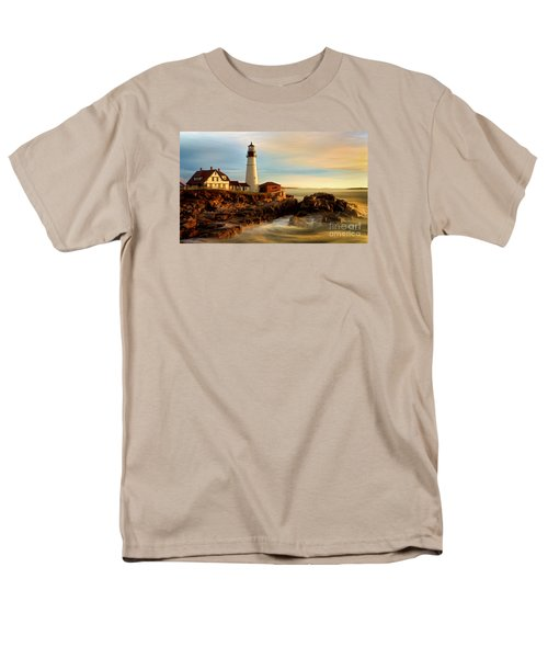 Portland Head Lighthouse At Dawn Men's T-Shirt  (Regular Fit) by Jerry Fornarotto