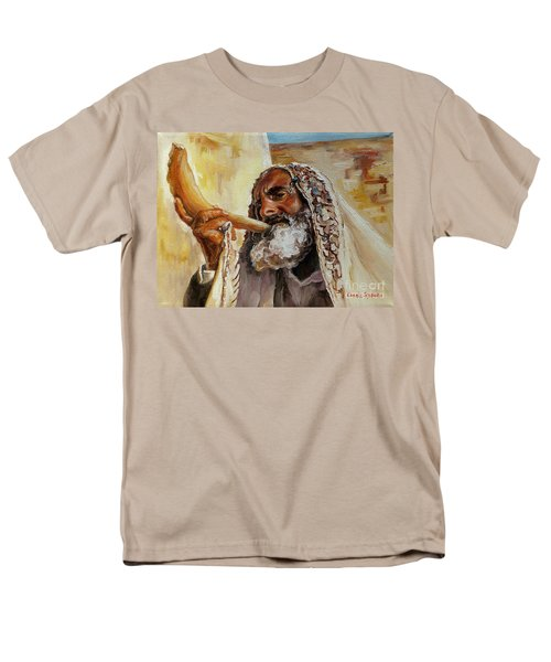 Rabbi Blowing Shofar Men's T-Shirt  (Regular Fit) by Carole Spandau