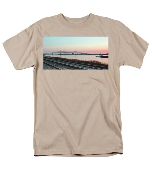 Men's T-Shirt  (Regular Fit) featuring the photograph Rail Along Mississippi River by Charlotte Schafer