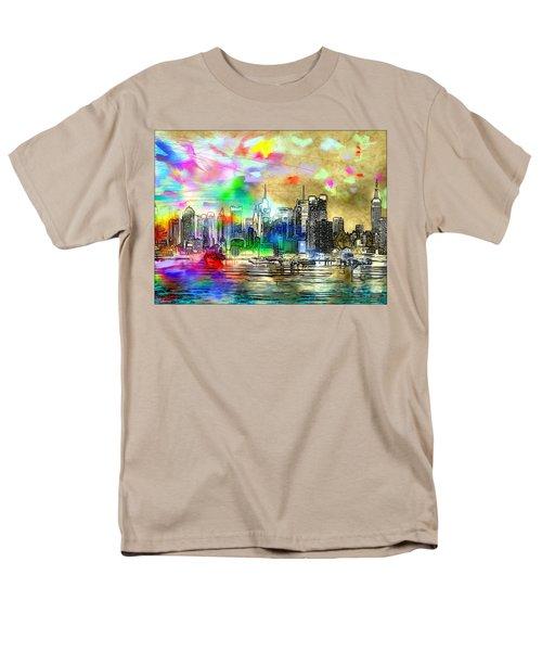Rainbow Nyc Skyline Men's T-Shirt  (Regular Fit) by Daniel Janda