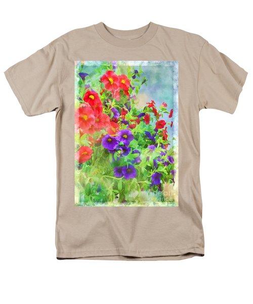 Red And Purple Calibrachoa - Digital Paint I Men's T-Shirt  (Regular Fit) by Debbie Portwood