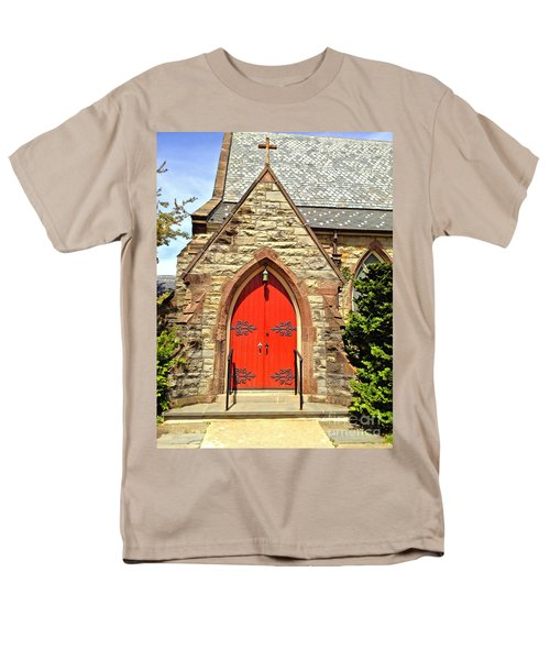 Men's T-Shirt  (Regular Fit) featuring the photograph Red Arch Church Door 1 by Becky Lupe
