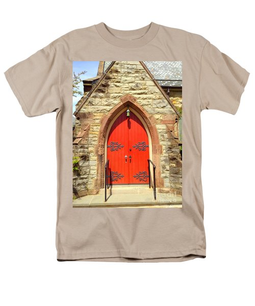 Men's T-Shirt  (Regular Fit) featuring the photograph Red Church Door by Becky Lupe
