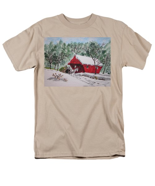 Red Covered Bridge Christmas Men's T-Shirt  (Regular Fit) by Kathy Marrs Chandler