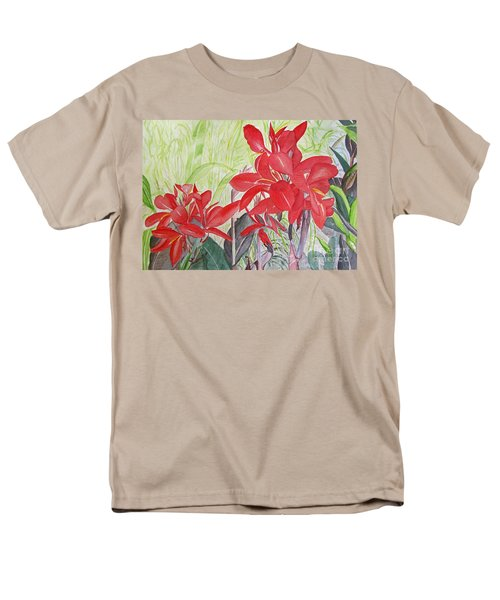 Men's T-Shirt  (Regular Fit) featuring the painting Red Flowers by Carol Flagg