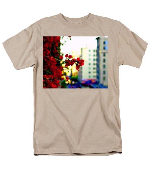 Red Flowers Downtown Men's T-Shirt  (Regular Fit) by Matt Harang