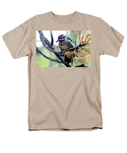 Red-naped Sapsucker On Pine Tree Men's T-Shirt  (Regular Fit) by Marilyn Burton