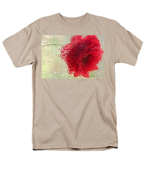 Red Rose In The Rain Men's T-Shirt  (Regular Fit) by Don Schwartz
