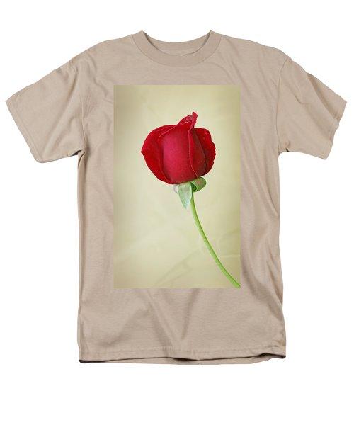 Red Rose On White Men's T-Shirt  (Regular Fit) by Sandy Keeton