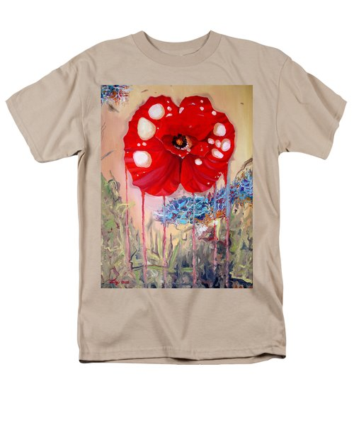 Men's T-Shirt  (Regular Fit) featuring the painting Red Weed Red Poppy by Daniel Janda