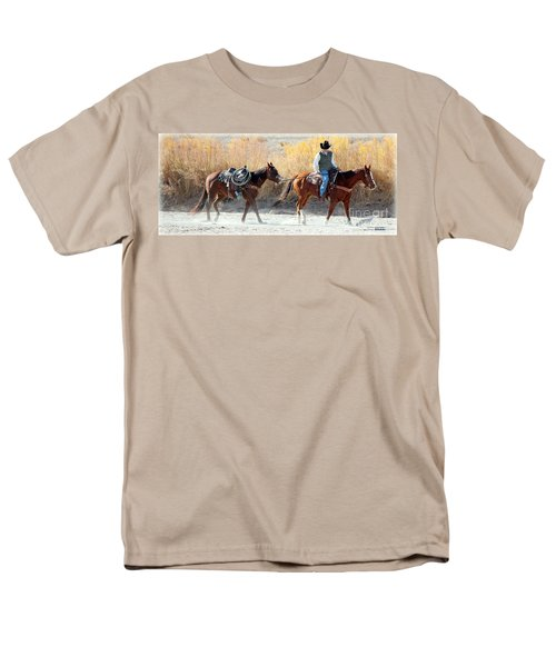 Men's T-Shirt  (Regular Fit) featuring the photograph Rio Grande Cowboy by Barbara Chichester