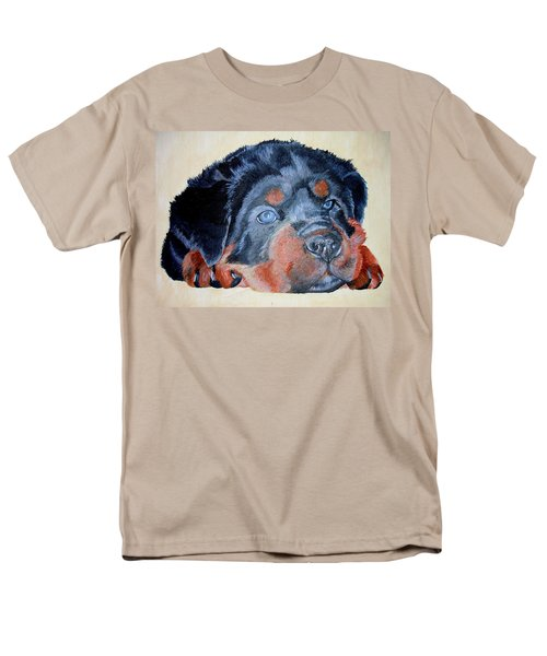 Men's T-Shirt  (Regular Fit) featuring the painting Rottweiler Puppy Portrait by Tracey Harrington-Simpson