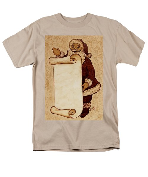 Men's T-Shirt  (Regular Fit) featuring the painting Santa Claus Wishlist Original Coffee Painting by Georgeta  Blanaru