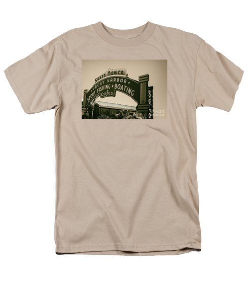 Santa Monica Pier Sign Men's T-Shirt  (Regular Fit) by David Millenheft