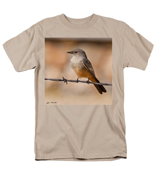 Say's Phoebe On A Barbed Wire Men's T-Shirt  (Regular Fit) by Jeff Goulden