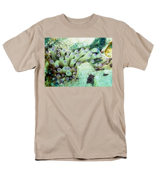 Men's T-Shirt  (Regular Fit) featuring the photograph Sea Anemone With Squat Anemone Shrimp Family by Amy McDaniel